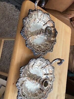 """2 Vintage TOWLE Candle Holder Silver Plate Chamber Stick 7"""" Victorian #6058"""