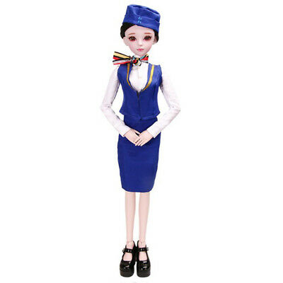1/3 BJD Doll Clothes Flight Attendant Uniform and Shoes Outfits for Dollfie