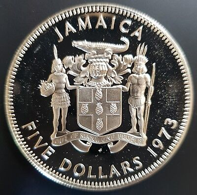 1973 Jamaica $5 Silver PROOF Coin (Norman W Manley) UNC.....