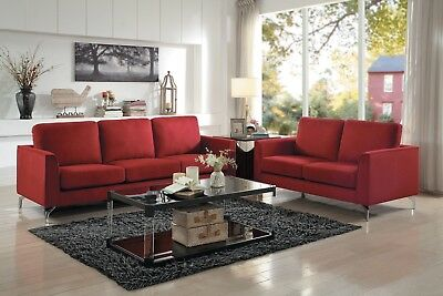 Peachy Contemporary Black Red Leatherette Sofa Loveseat Living Gmtry Best Dining Table And Chair Ideas Images Gmtryco