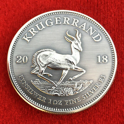 2018 South African KRUGERRAND 1 Troy OZ .999 Silver - Antique - Polished Finish