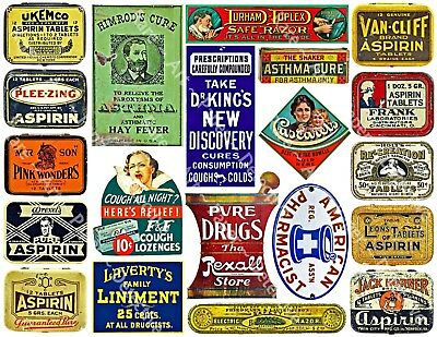 20 APOTHECARY BOTTLE LABELS, Sticker Sheet, Colorful Pharmacy Advertising Decals