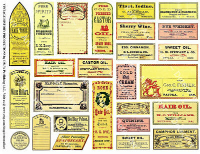 26 APOTHECARY BOTTLE LABELS, Sticker Sheet, Druggist & Pharmacy Jar Label Decals