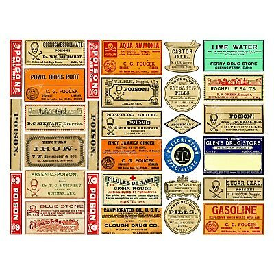 30 APOTHECARY LABELS, Sticker Sheet, Druggist & Pharmacy Labels, Drug Store Art