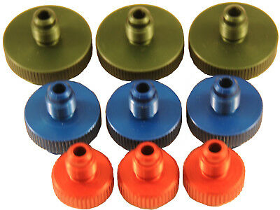 "Set of 9 Hard Anodized - Aluminum (1/4"" 1/2"" 3/4"") Backflow Testing Fittings"