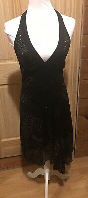 Stunning Black Halter Top Dress by By Choice Size Medium *WOW*