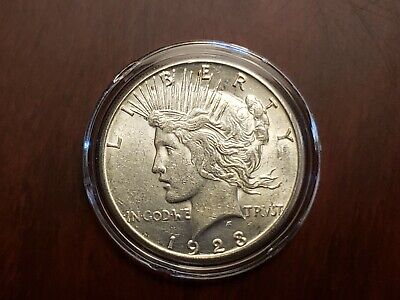 1923 90% Silver Almost Uncirculated Peace Dollar with Capsule