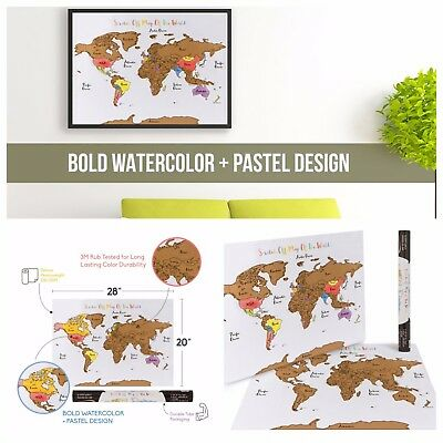 Watercolor Pastel Scratch Off World Map Poster - Deluxe Countries Travel Tracker
