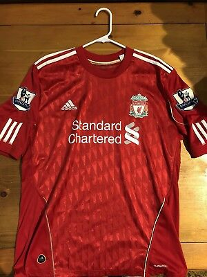 1bdb8f922 FERNANDO TORRES LIVERPOOL FC Adidas home red shirt jersey Large L Barclays  Patch