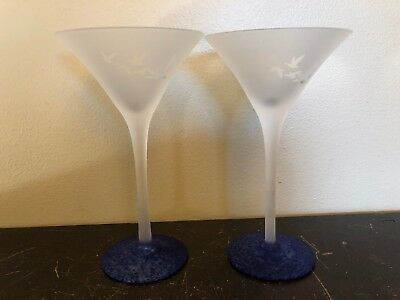 """COLLECTOR GREY GOOSE Vodka Frosted Martini Cocktail Glass Blue Swirl Base 7-1/2"""""""