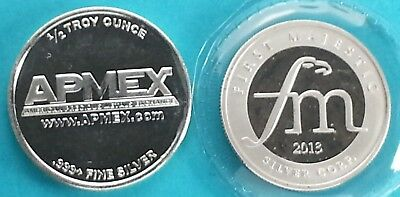 Apmex & First Majestic 1/2 oz Silver Rounds .999 Silver  Lot of 2