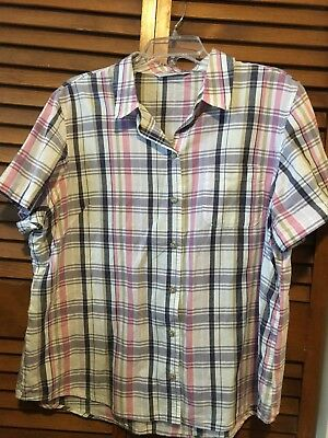 30e9e04953d RIDERS WOMEN S PINK Checkered 3 4 Sleeve Ruched Button Down Shirt ...