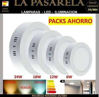 Downlight Panel Led Redondo 20W Packs 1/ 5/10/ Und Plafon Blanco Superficie
