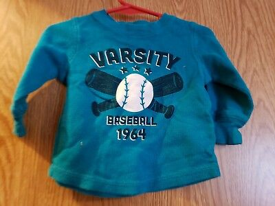 "Infant Boys Jumping Beans Size 12 Month Blue Long Sleeve Shirt ""varsity"""