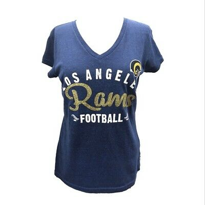 NFL Los Angeles Rams Women's TOUCH Brand Script Retro V-Neck -Heather Navy