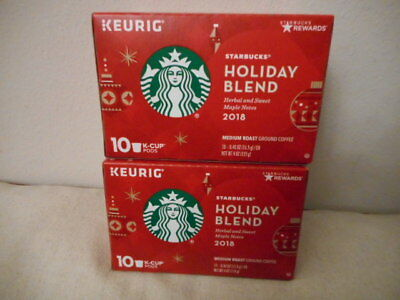 (NEW!) Starbucks 2018 Coffee Christmas Holiday Blend Keurig 2x10 packs