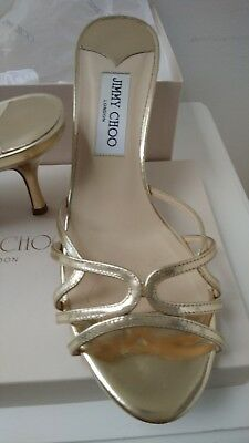 b398e47beed1 Jimmy Choo 247 Ivana Gold Mirror Leather Mule Open Toe Strappy Sandals Size  8