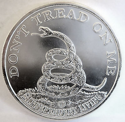 """don't Tread On Me"" Rattlesnake Freemasonry Style ""g"" .999 Fine Silver 1 Troy Oz"