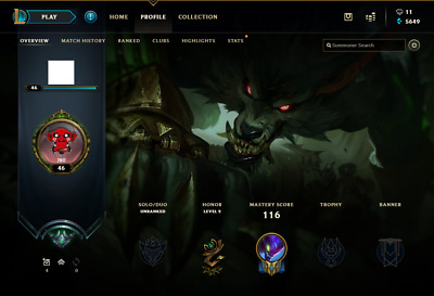 (EUW) Unranked | League of Legends Account | 81 Champs | 8 Skins (S8 - Platinum)