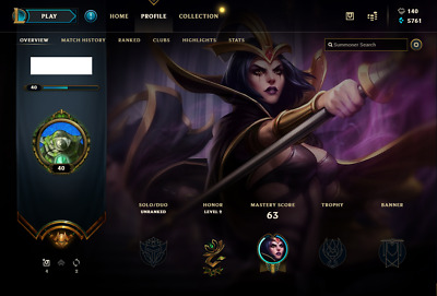 (EUW) | Unranked | League of Legends Account | 58 Champs | 4 Skins (S8 - Gold)