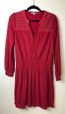 84ea13cdc2e12 ANTHROPOLOGIE LEIFNOTES RED Lace Tunic Dress Size Small Cinch Waist ...