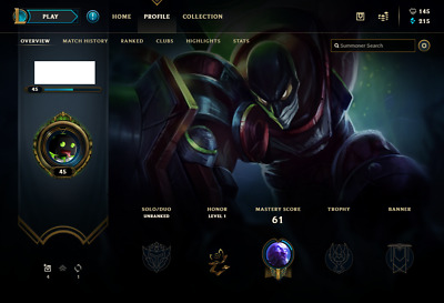 (EUW) Unranked | League of Legends Account | 57 Champs | 4 Skins