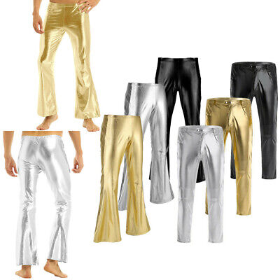 Mens Shiny Leather Pants WetLook Long Tight Trousers Leggings Moto Punk Clubwear