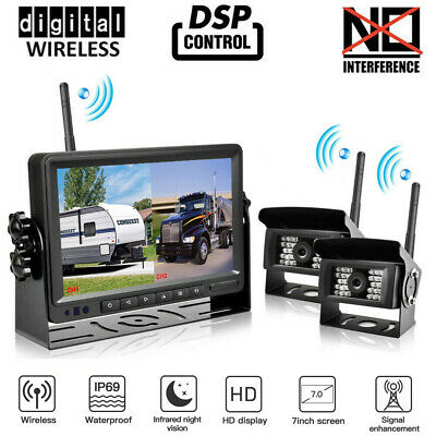 """Wireless 7"""" Monitor+Rear/Side View Backup Camera*4 System For Truck VAN Trailer"""