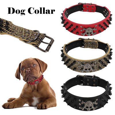 Large Spiked SKULL Stud Metal Dog PU Leather Collar Pit Bull Mastiff Rivet