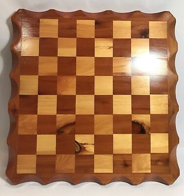"""Large Hand Made Wooden Chess Board Red and White Cedar 18"""" x 18"""" x 1 1/8"""""""