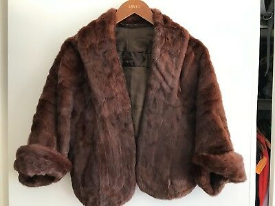 Vintage Made in Melbourne Rabbit chocolate Fur Stole