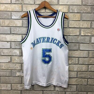 VINTAGE 90s Dallas Mavericks Medium Jason Kidd Champion Jersey Vtg White  Stained 8e4daa1a4