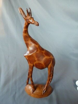 "11.5"" Hand Carved Wood Giraffe Sculpture Figurine Figure - Made in Kenya Africa"