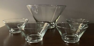 Vintage • Mid Century • Anchor Hocking 5 Piece Snack And Salad Set • Good Times