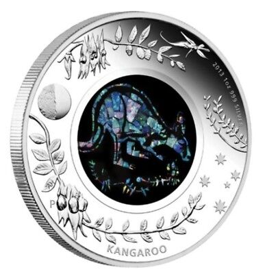 2013 One Ounce 1oz Silver Proof Australian Opal Series 'Kangaroo' Coin