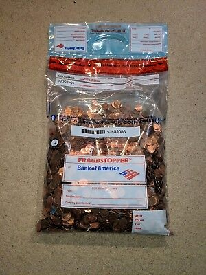 Unsearched Bank Sealed Bag Of Circulated US Pennies