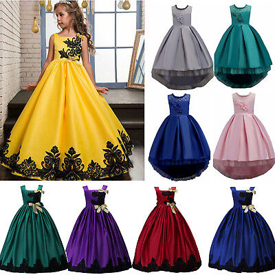 Lace Flower Girls Dress Full-Length Formal Ball Gown for Kids Wedding Bridesmaid