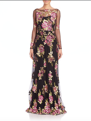 a252139971b Marchesa Notte Women s Black Embroidered Tulle Gown Formal Dress