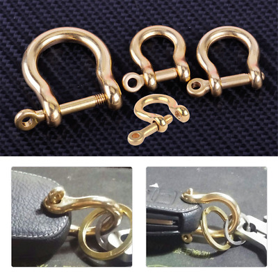 Solid Brass D Bow Shackle Screw Pin Joint Connect Key Chain Hook Leather New