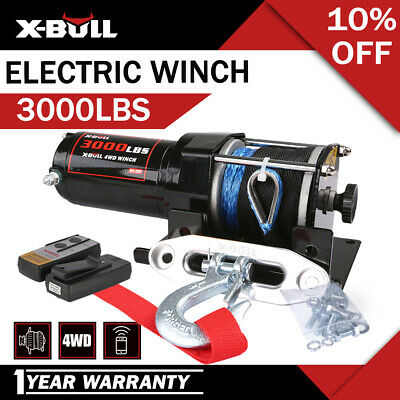 X-BULL Electric Winch 3000LBS /1361KGS 12V Synthetic Rope 10M Wireless ATV 4WD