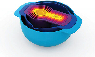 Nest 7 Nesting Bowls Set with Mixing Bowls Measuring Cups, 7-Piece, Multicolored