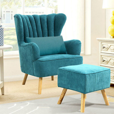 Occasional Wing Back Upholstered Armchair Chair and Footstool Suite Vintage Sofa
