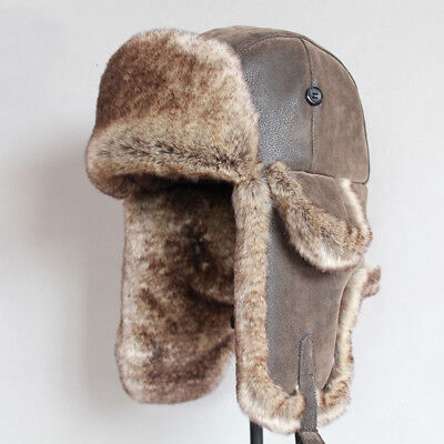 Bomber Hats Winter Men Warm Russian Leather Fur Ushanka With Ear Flaps