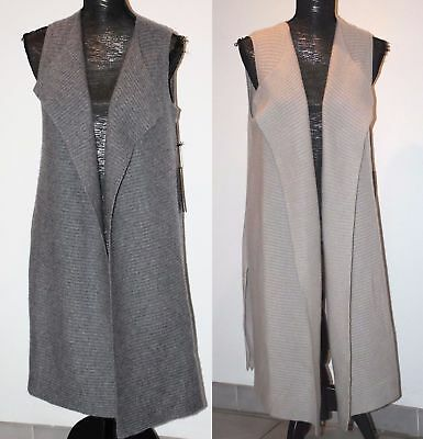 TAHARI PURE LUXE 100% Cashmere Vest Cardigan Ribbed Shawl Front in Grays S,M,L