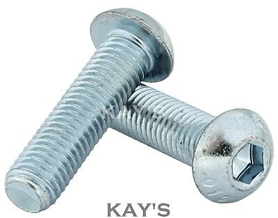 M10 Button Head Bolts High Tensile Allen Socket Domed Screws Zinc Plated 10.9