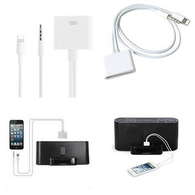 8 Pin Lightning 3.5mm to 30 Pin Audio Adapter Cable for Apple iPhone/iPad/iPod