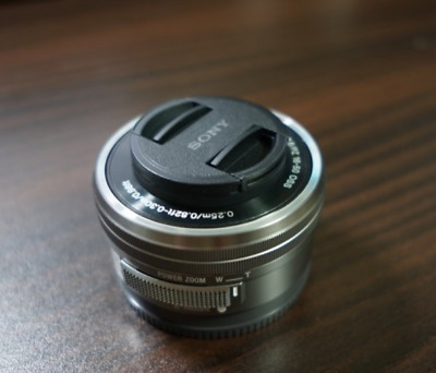 Sony SELP1650 16-50mm Power Zoom Camera Lens Silver Displayed