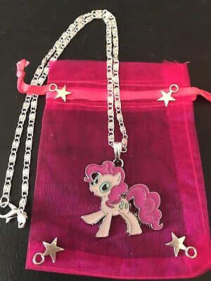 """MY LITTLE PONY Pinkie Pie Pendant Charm GIRLS 16"""" Silver Plated Necklace Gift"""
