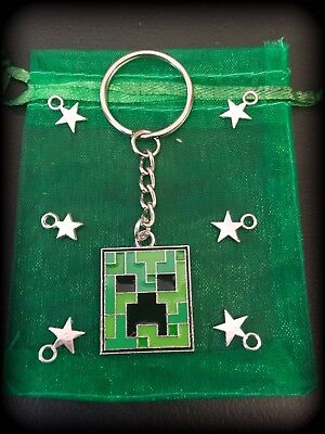 MINECRAFT THEMED Pendant Charm CREEPER Keyring KEYCHAIN Bag Tag GAMER