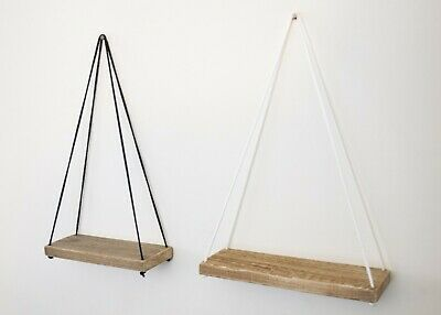 Rustic Hanging Wall Shelf with Braided Cord made from Reclaimed Weathered Timber